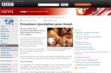 Premature ejaculation gene found